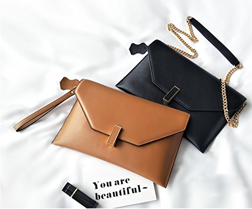 Sac D'embrayage Véritable Simple Chaîne Style Enveloppe Femmes CaramelColor Cuir Mode wq4p0Ex7O