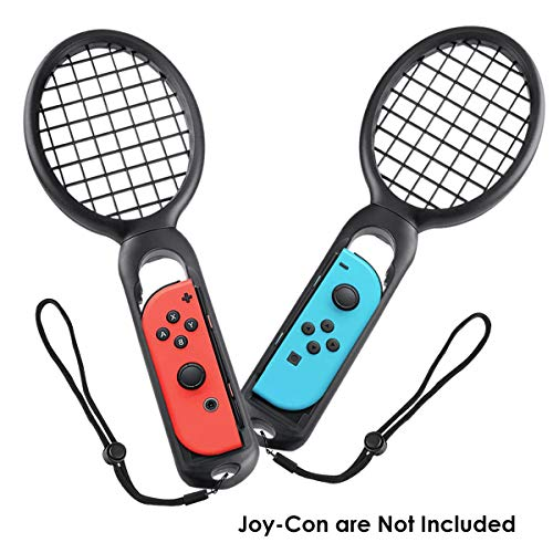 Tennis Racket for Nintendo Switch Joy-Con Controllers, WELLWERKS Joy Con Grips for Realistic Experience of Mario Tennis Aces, N-Switch Game Accessories as Gifts for Kids and Adults, Twin Pack (Black)