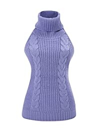 M2T Women's Sexy Backless Virgin Killer Sweater Turtle-Neck Tied Cosplay Pullover