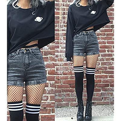 Womens Thigh High Socks Over the Knee High Leg Wamers Girls Winter Warm Crochet Socks at Women's Clothing store