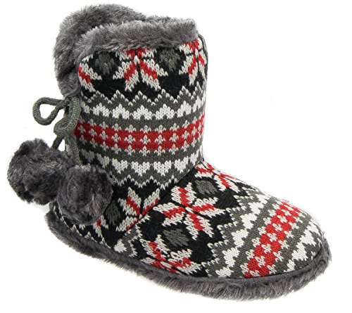 Womens Ladies Boot Slippers / Black Grey Red Fleece Warm Lined Slip On Coolers qP60x8OcM