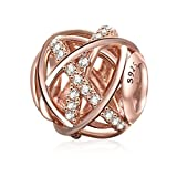 Soulbeads Jewelry Rose Gold Galaxy Charm Authentic 925 Sterling Silver Openwork Charms with Clear CZ for European Bracelet