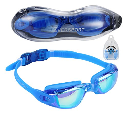 EVERSPORT Swimming goggles, Mirrored Lens, Anti Fog, UV Protection, Waterproof, No Leakage, Clear Lens, Shatterproof Glass with Protective Case, Men Women Youth Teenagers Kids Swim Eyeglasses