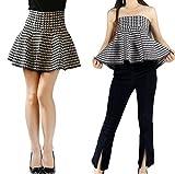 YSJ Lady's Knitted Mini Skirt High Waist A-line 17-inch Length Skirts (Houndstooth)