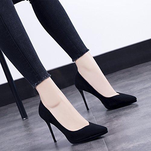 Solo De Con Punta Alta Zapatos Primavera Impermeables De Primavera Zapatos GAOLIM Con Fina Negro Zapatos Mujer xwOaqWX