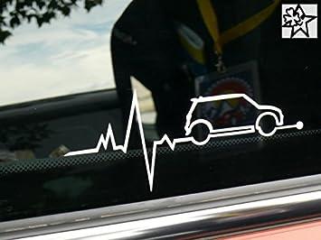 Herzschlag Aufkleber Mini Cooper S Heart Beat 20cm Sticker Herz Fan Hobby Leidenschaft Liebe Für Auto Autoaufkleber