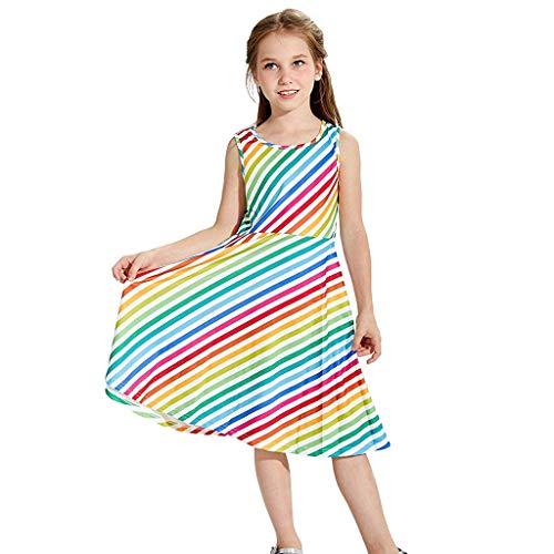 Luonita Teen Kids Girls Rainbow Stripe Dress Sleeveless School Party Dress ()