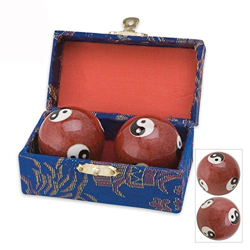 japanbargain s-3580, chinese health stress relieve hand exercise baoding balls, red