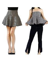 YSJ Lady's Knitted Mini Skirt High Waist A-line 17-inch Skirts