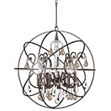 Cheap Crystorama 9028-EB-GS-MWP Crystal Accents Six Light Chandelier from Solaris collection in Bronze/Darkfinish,