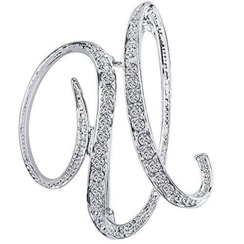 ANTOLL1Pcs A to Z 26 English Letters Silver Plated Metal Clear AAA+ Crystal Lapel Pin Brooches Collar (1pcs-U)