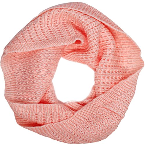 Winter Warm Acrylic Thick Knitted Winter Warm Infinity Scarf, Pink