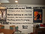 Famous Movie Sayings for home theater room, vinyl wall decal, black or white, (Black)