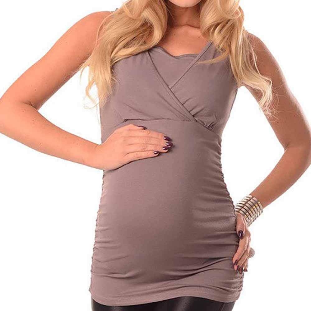 Summer Women V Neck Vest High Waist Cami Top Hat Long Sleeveless Square Neck Maternity Coffee