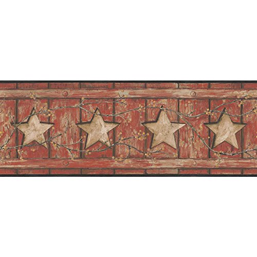 York Wallcoverings Keepsakes Country Cutout Star Removable Wallpaper, Red, Tan, Gold, Black ()