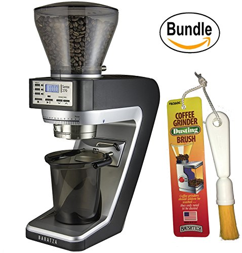 Baratza Sette 270 - Conical Burr (with Grounds Bin and built-in PortaHolder) & Brushtech Coffee Grinder Dusting Brush (Bundle)