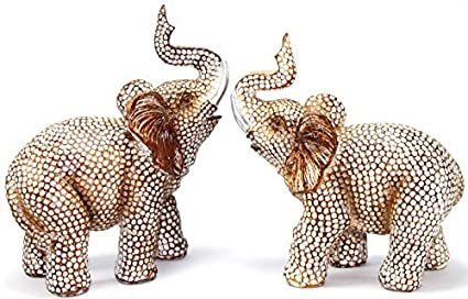 Feng Shui Lovely Pair Of Polyresin Elephant Trunk Statue Wealth Lucky  Figurine Home Decor Housewarming Gift