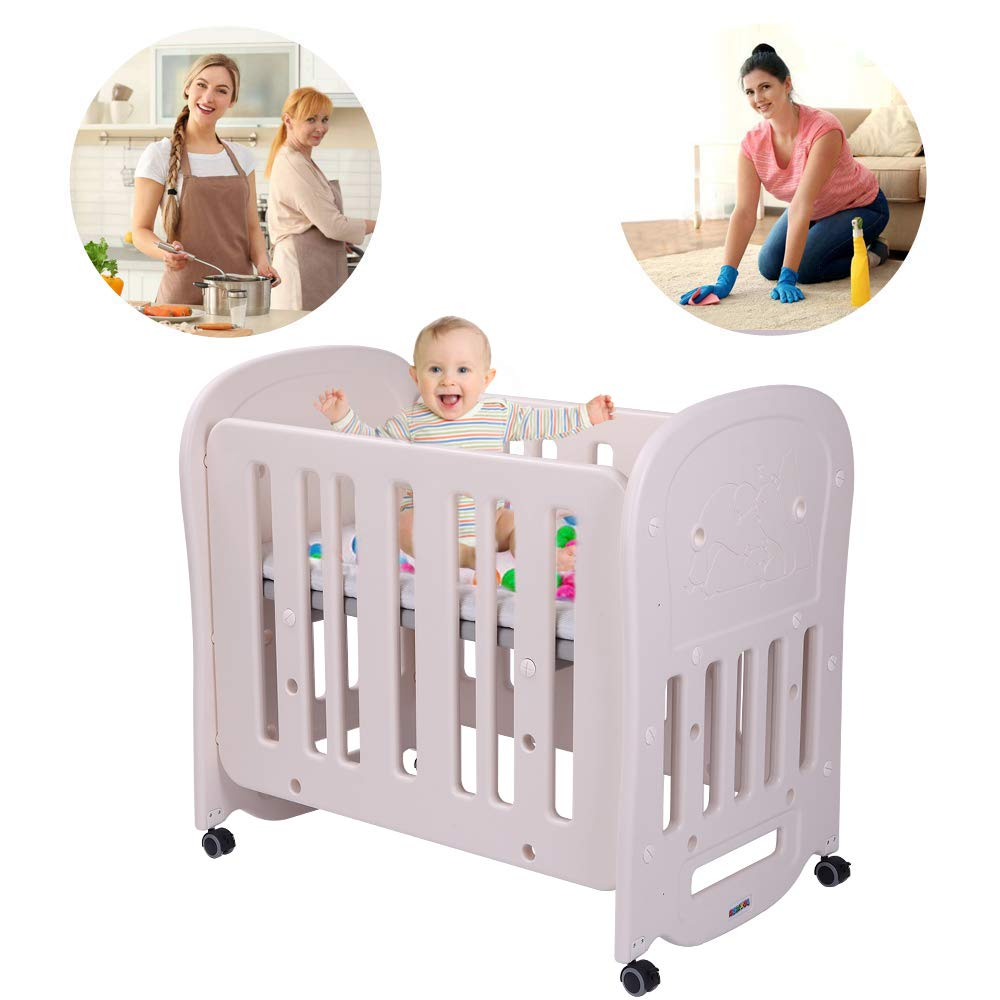JOYMOR 4-in-1 Baby BPA-Free Mini Crib & 2'' Crib Mattress, Easily Converts to Toddler Bed Playard or Rocking Crib, Portable and Easy Assembly, Cream & Grey by JOYMOR