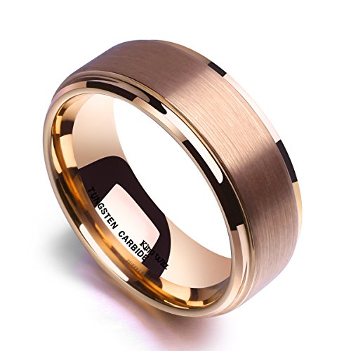 King Will GLORY 8mm Rose Gold Plated Tungsten Carbide Ring Wedding Band Matte Finish Comfort Fit