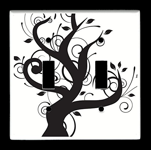 Double Toggle (2-toggle) Light Switch Plate Cover - Trees - Abstract Black & White Tree
