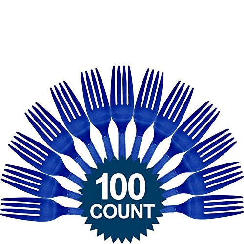 Amscan Big Party Pack 100 Count Mid Weight Plastic Forks, Bright Royal Blue
