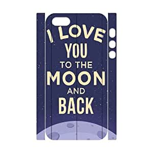wugdiy New Fashion Cover 3D Case for iPhone 5,5S with custom I love you to the moon and back
