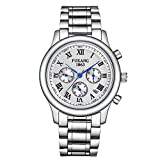 Swiss-automatic Movement Watches, White Stainless Steel Calendar Luminous Waterproof Automatic Mechanical Watch For Men