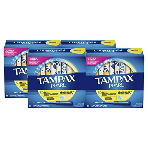 Tampax Pearl Tampons with Plastic Applicator, Regular Absorbency, Unscented, 50 Count-Pack of 4 (200 Count Total) ( packaging may vary)
