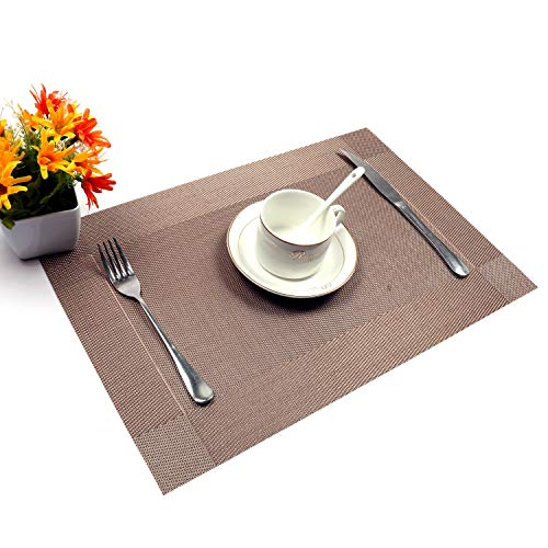 - Xugoly Champagne Crossweave Woven Vinyl Non-Slip Insulation Placemat, 1812 inch,
