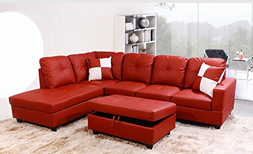 Golden Coast Furniture 2 PC L Shape Sectional Sets Including Ottoman (With Multiple Colors) (Right Hand Facing, Red Leather)