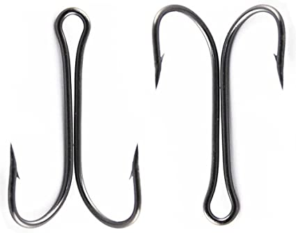 AGOOL 35pcs Classic Double Hook Frog Hooks Fly Tying Fishing Hooks Sharp Open Shank 3X Strong High Carbon Steel Barbed Black Small fit for Saltwater and Freshwater