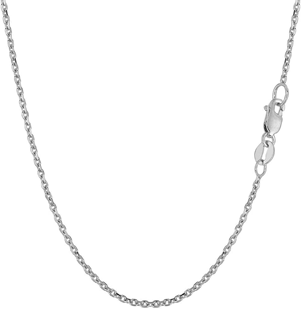 16, 18, 20, 22, 24 or 30 inch 14K Yellow or White Gold 1.5mm Shiny Diamond Cut Cable Link Chain Necklace for Pendants and Charms with Lobster-Claw Clasp