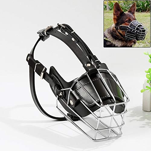 HHF Pet Supplies Dog Basket Wire Muzzle Predective Snout Steel Cage Style Cover with Leather Strap, Size  L