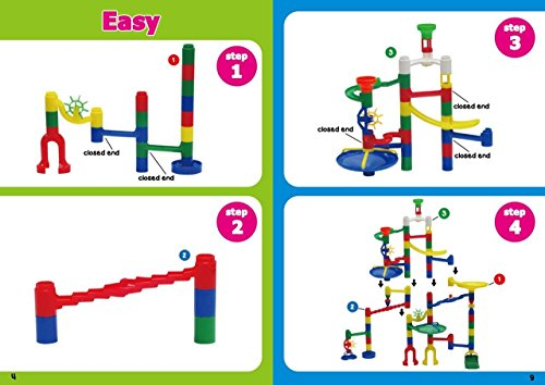 Edushape Marbulous Marble Run - 82 Pieces + 50 Marbles (Total 132 Pc Set) Sturdy Setups with Clear Step-by-step Illustrated Instructions in Four Different Skills Levels by Edushape (Image #6)