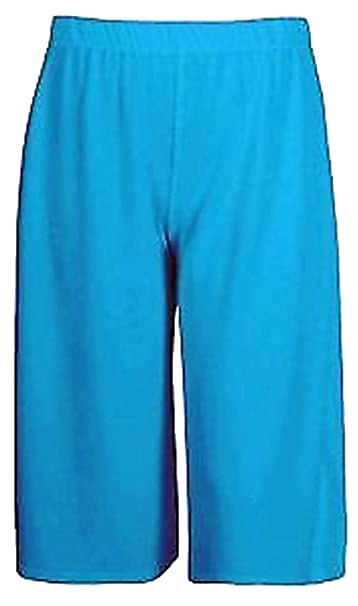 Women//Ladies Plain 3//4 Culotte Trousers Leg Cropped Trouser Elasticated Pants