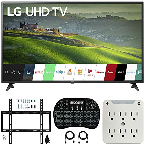 LG 49UM6900 49-inch HDR 4K UHD Smart IPS LED TV (2019) Bundle with Deco Mount Flat Wall Mount Kit, Deco Gear Wireless Backlit Keyboard and 6-Outlet Surge Adapter with Night Light (Lg 49 Led Tv)