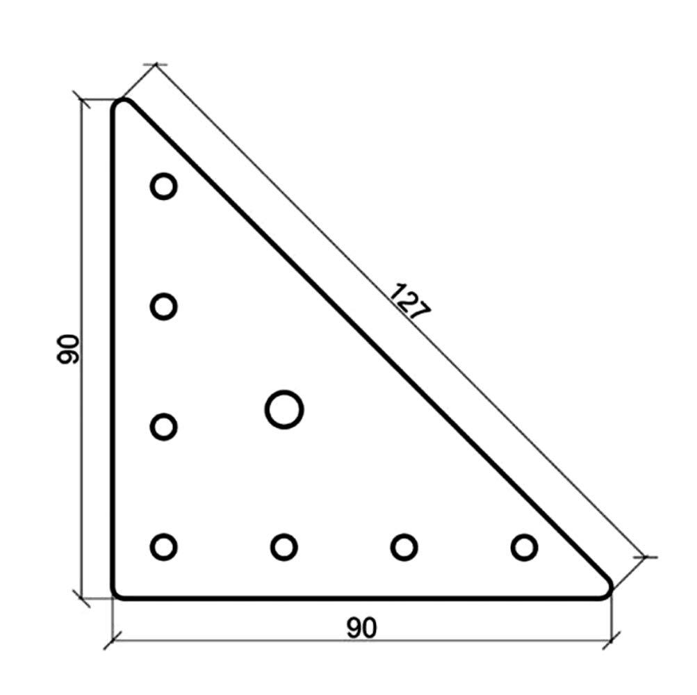 AERZETIX 10x Placa triangular de montaje fijaci/ón instalaci/ón 90х90х1mm para mueble armario de cocina C41432