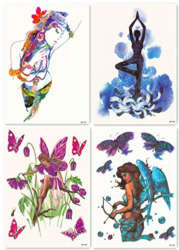 DaLin 4 Sheets Temporary Tattoos for Women, Floral fairy, Blue Angel, Yoga Lady, Sexy Indian Dancer - Angel Tattoos Women