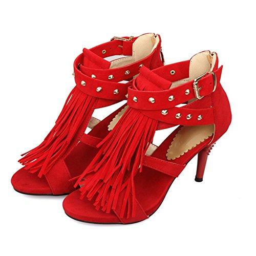 Tacones Citw Borla Alto Mujeres Zapatos De Las Remaches Tamaño Gran Tacón Sandalias Red Mujer Altos IFBwxIq