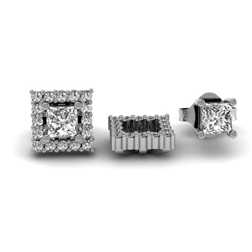 0.45 Carat (ctw) 14k White Gold White Diamond Square Shape Removable Jackets for Stud Earrings 1/2 CT