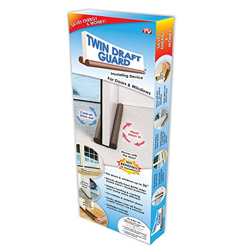 Original Twin Draft Guard Door Draft Stopper, Year Round Insulator, For Summer and Winter Use PATENTED & TRADEMARKED (Door Stopper Sand Draft Filled)