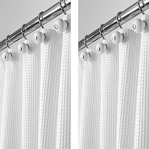 "mDesign - 2 Pack - Long Polyester/Cotton Blend Fabric Shower Curtain with Waffle Weave and Rustproof Metal Grommets for Bathroom Showers and Bathtubs - 72"" x 84"" - White"