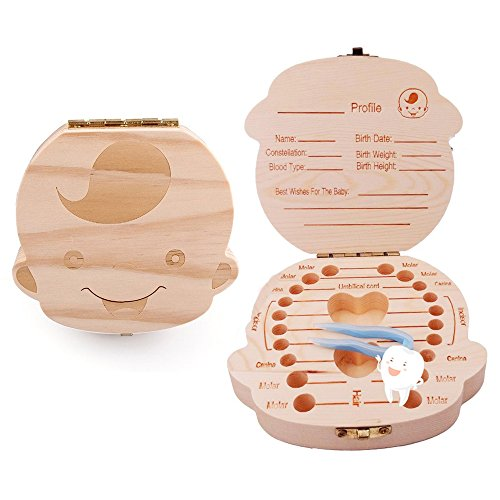 Willway Baby Teeth Box Keepsake Organizer Wooden Boxes Personality Deciduous Souvenir Box (English, for boy) (Horoscope By Date Of Birth Time And Place)