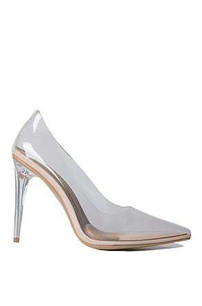 18845e8d875 Azalea Wang Transparent Clear Cinderella See Through Pointed Toe Sexy High  Heel Pumps Wedding Dress Shoes