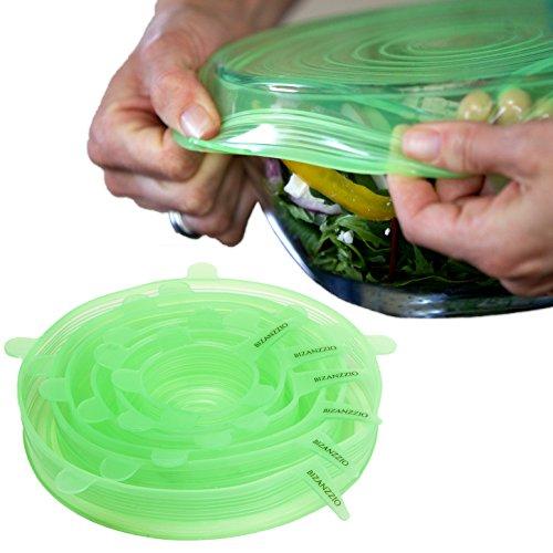 Bizanzzio Top On Stretchy Silicone Lids - Set of 6 Plus 1 Bonus Flat Lid - Reusable Super-flexible Food Saving Lids