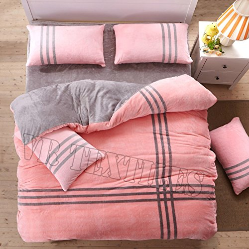 VRT-Super Soft 3PC Reversible Velvet Striped Blanket Set(1 Blanket+2 Pillow Cover) Twin XL Baby Pink & Dark Grey by VR Textiles