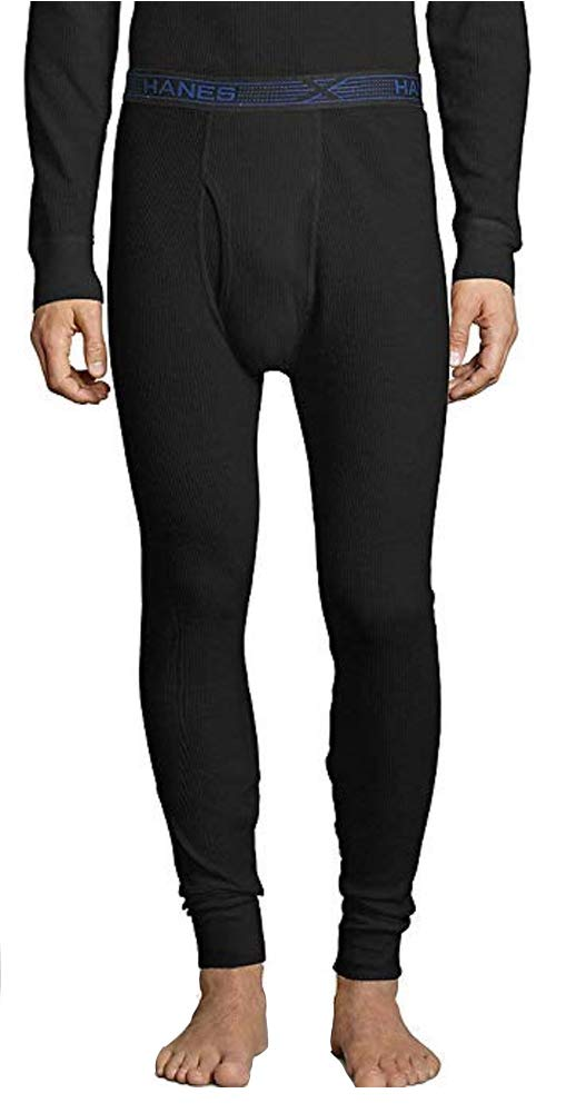 Hanes Mens Ultimate X-Temp Tall Organic Cotton Thermal Pants, LT, Black by Hanes
