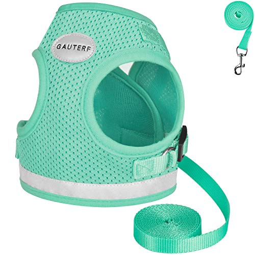 GAUTERF Kitten and Puppy Universal Harness with Leashes Set, Escape Proof Cat Harness Adjustable Reflective Soft Mesh Corduroy Harness Fit Pet Kitten Puppy Rabbit Ferrets - Best Pet Supplies