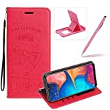 Strap Leather Case for Galaxy A50,Hot Pink Wallet Flip Case for Galaxy A50,Herzzer Elegant Classic Solid Color Magnetic Cute Fish Cat Printed Stand PU Leather Case with Soft TPU