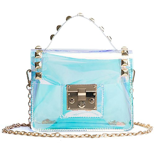 Mini Iridescent Clear Crossbody Purse Rivet Hologram Transparent Phone Bag for Gilrs Transverse by Yair Yangtze